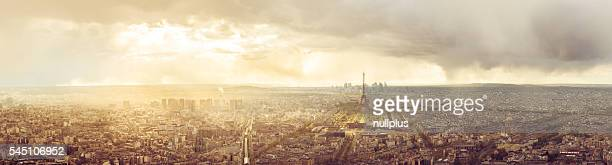 High resolution panorama of Paris skyline with Eiffel Tower