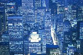 High Rise Building in New York, Manhattan, United State of America, Aerial View, Blue Tone