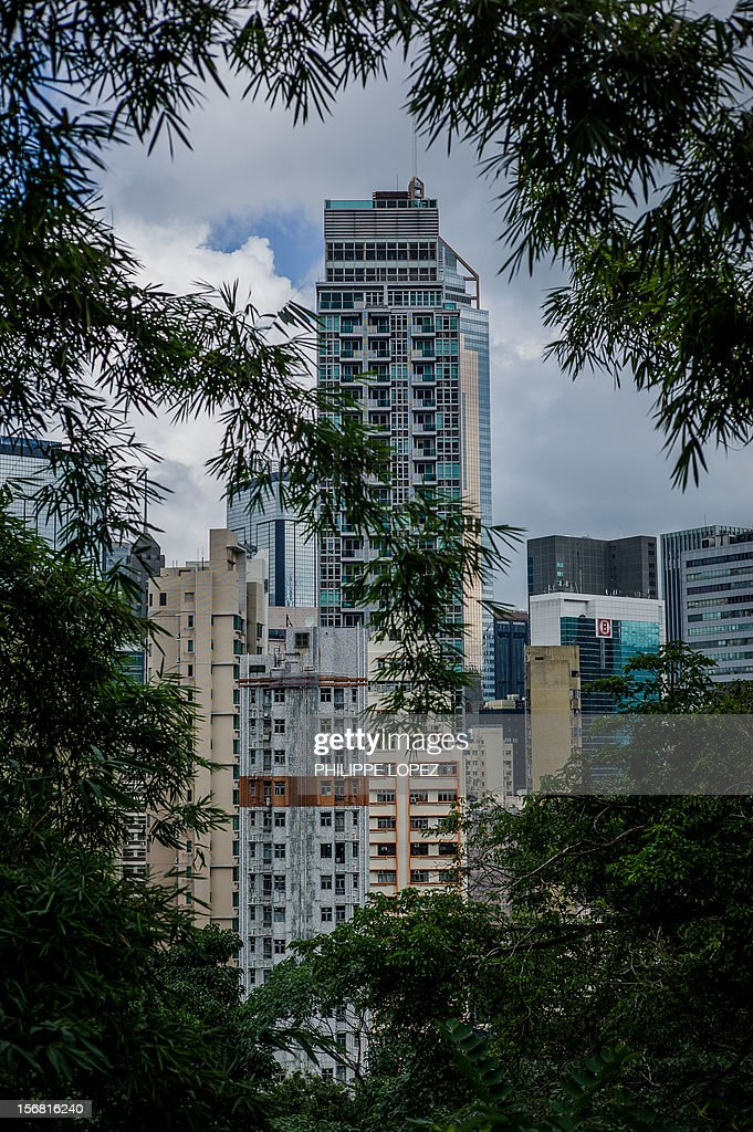 High rise buildings are seen through trees in Hong Kong on November 22, 2012. Hong Kong's economy returned to modest growth in the third quarter, meaning the southern Chinese city avoided a technical recession, typically defined by GDP contractions in two consecutive quarters. AFP PHOTO / Philippe Lopez