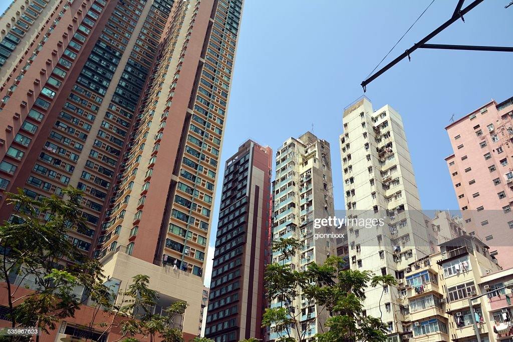 High rise buildings, Yau Ma Tei district Hong Kong : Stock Photo