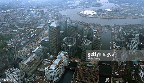 High rise office buildings are seen in the Canary Wharf area of London from the air on June 14 2014 in London England