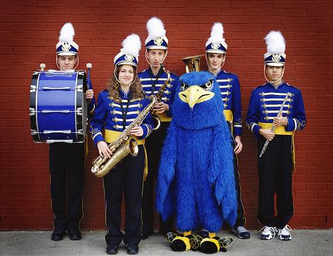 High School Band Members and Mascot