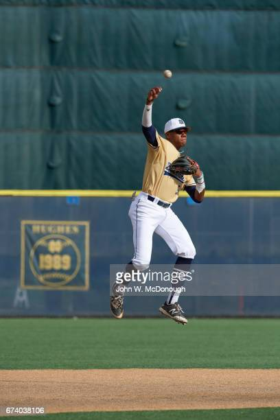 Notre Dame HS Hunter Greene in action fmaking jumping throw at shortstop during photo shoot at Marine Corps Memorial Stadium Greene is a potential No...