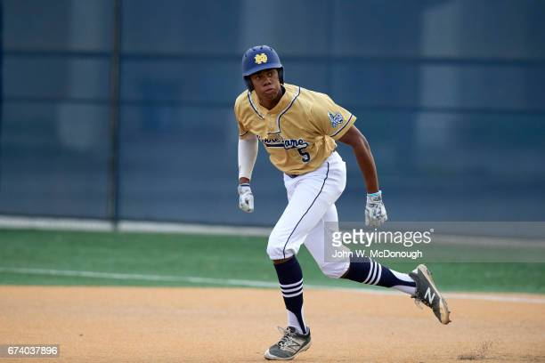 Notre Dame HS Hunter Greene in action running bases vs Alemany HS at Marine Corps Memorial Stadium Greene is a potential No 1 overall pick in this...