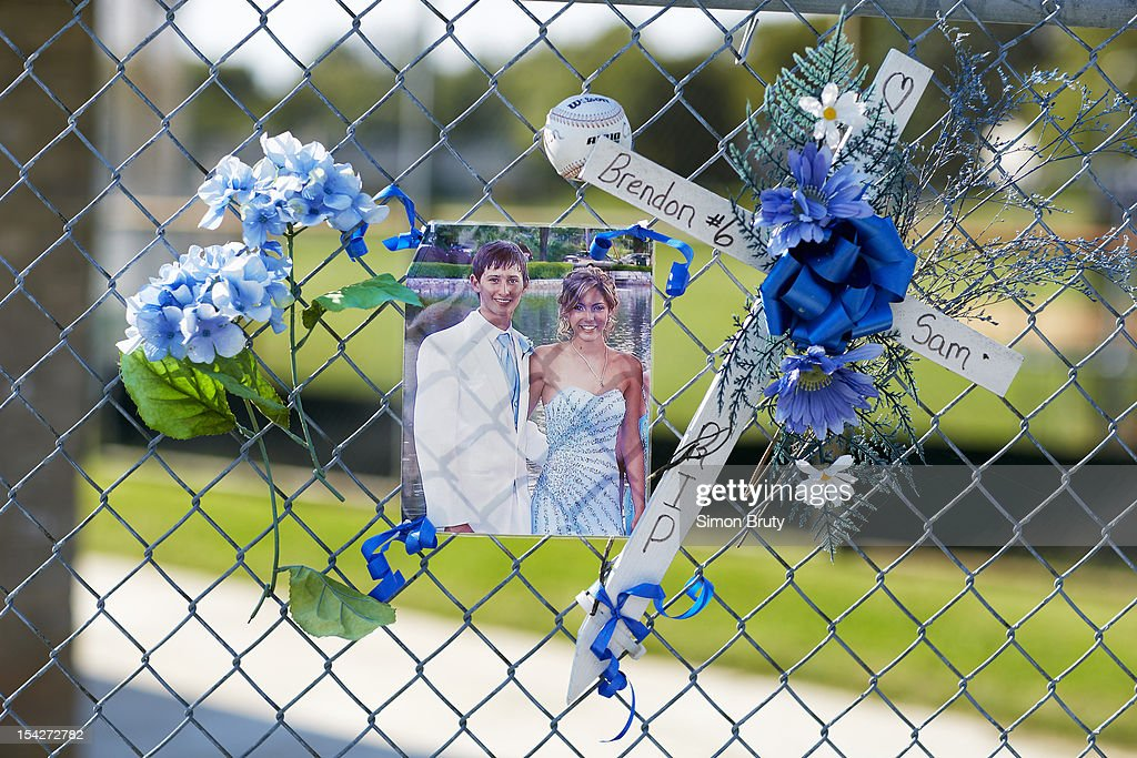 View of memorial tribute to Williamsport baseball pitcher Brendon Colliflower (#6) and his girlfriend Williamsport volleyball player Samantha Kelly at the schoold field. Colliflower and Kelly were both killed in a post-prom car accident on May 6, 2012. Simon Bruty F4 )