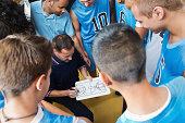 High school basketball coach explaining play to team