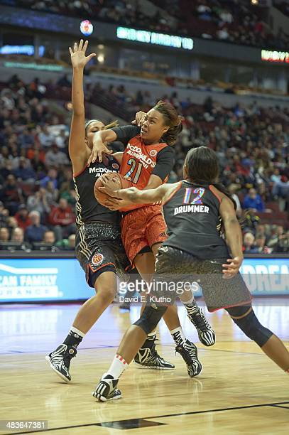 McDonald's All American Game Team East Mariya Moore in action vs Team West during Girl's game at United Center Chicago IL CREDIT David E Klutho