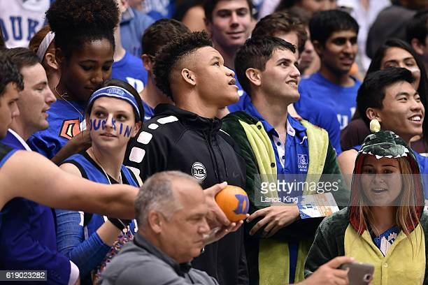 High school basketball player Kevin Knox center attends the game between the Virginia State Trojans and the Duke Blue Devils at Cameron Indoor...