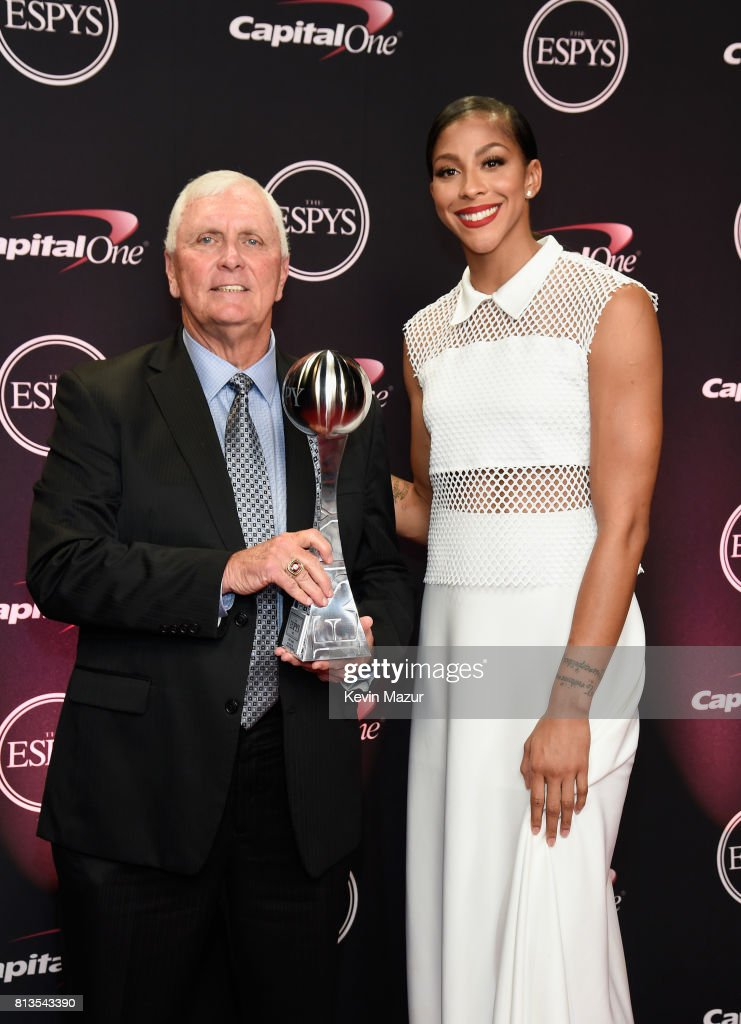 High school coach Bob Hurley Sr., winner of the Best Coach award, and WNBA player Candace Parker attend The 2017 ESPYS at Microsoft Theater on July 12, 2017 in Los Angeles, California.