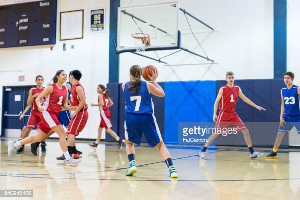 High school co-ed basketball game