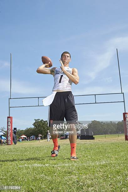7on7 DII State Championship Portrait of Stephenville High QB Jarrett Stidham during photo shoot at Southwest Williamson County Regional Park Leander...