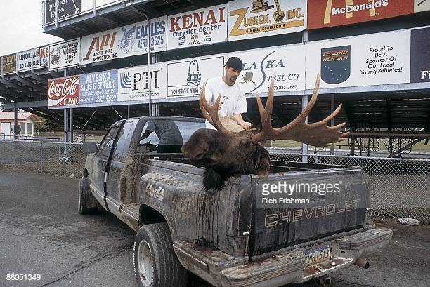Kenai Central HS Tyrell Renner placing moose head on back of truck after hunting Renner said 'I played football but it was a choice between that and...