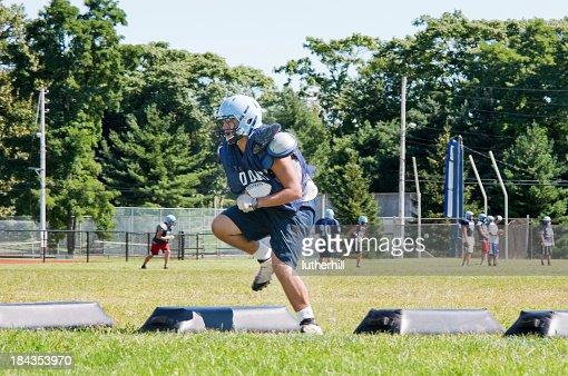 high school football player training