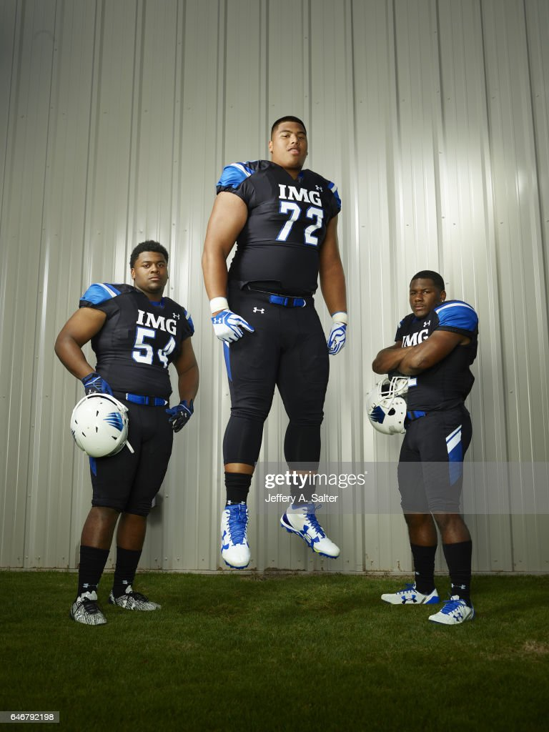 academy daniel faalele high school football pictures getty portrait of academy offensive tackle daniel faalele 72 posing teammates taron vincent