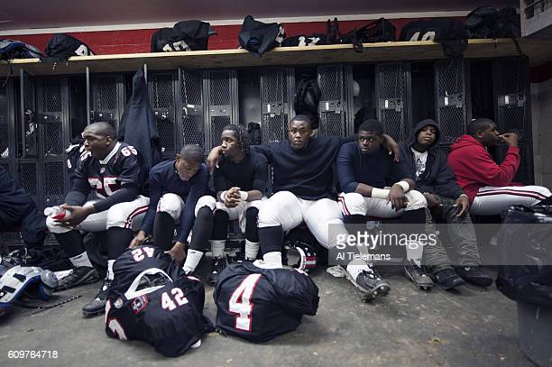 WPIAL Class AA Playoffs View of Aliquippa High players in locker room before game vs Shady Side Academy at Carl A Aschman Memorial Stadium Western...