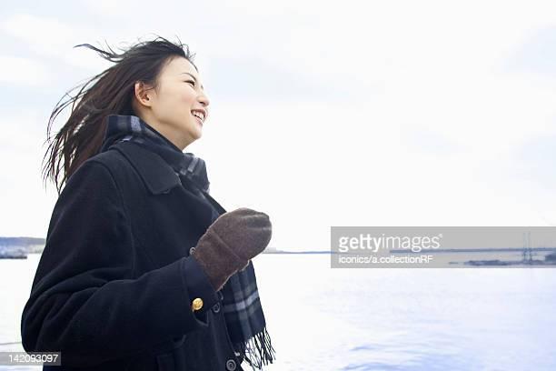 High school girl by the ocean