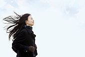 High school girl in the wind