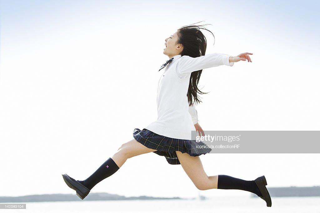 High school girl jumping