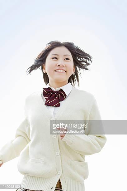 High school girl running