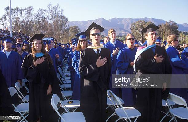 High school graduates recite the pledge of allegience Nordhoff High School Ojai CA