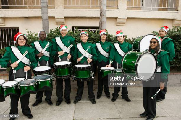 High school marching band at Christmas time
