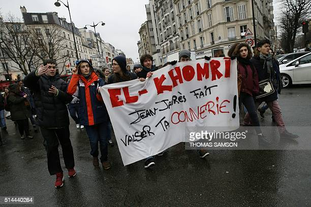 High school pupils called by youth organizations and students' unions march near Place de la Nation in Paris on March 9 2016 to protest the...