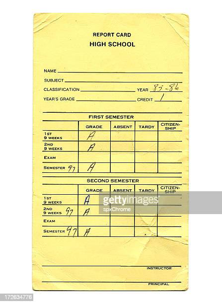 Report Card Stock Photos And Pictures | Getty Images