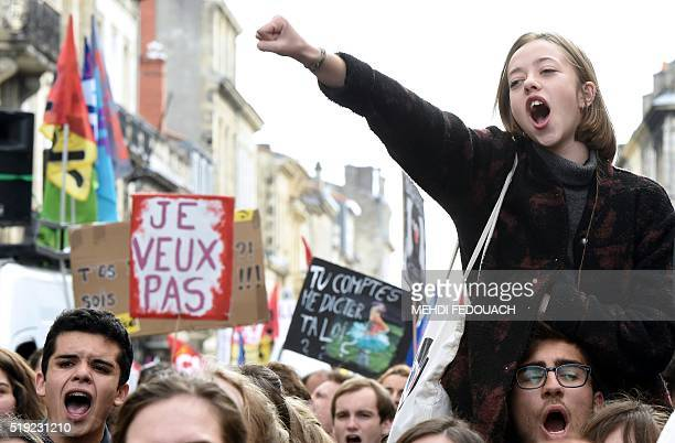 High school students university students and unions protest against the government's planned labour reform on April 5 2016 in Bordeaux The Socialist...