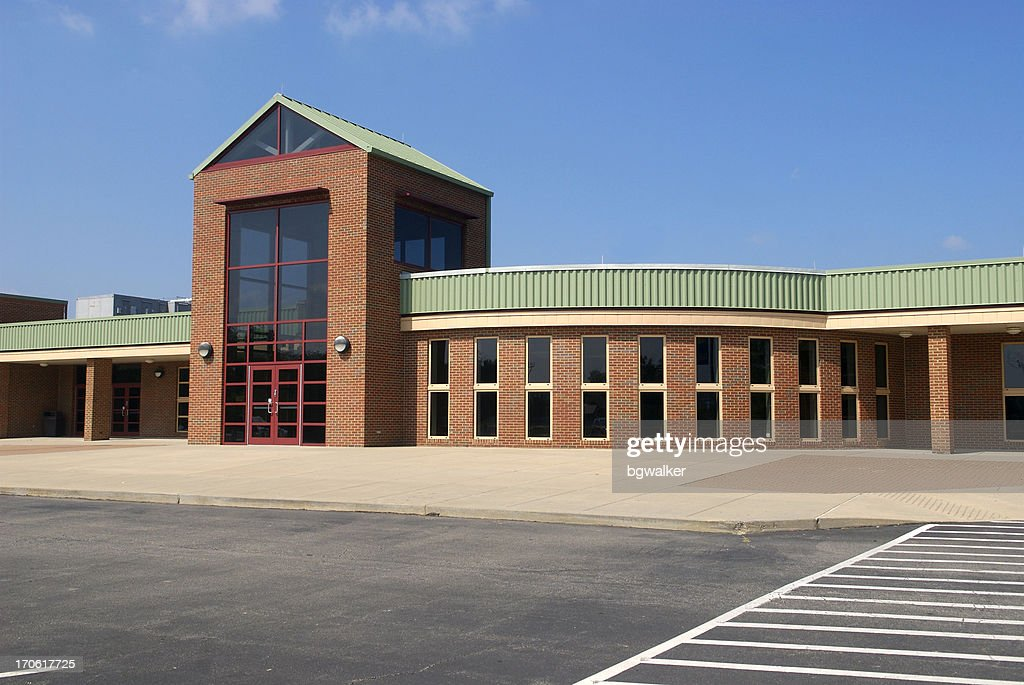 High School with Blue Sky and Modern Architecture : Stock Photo