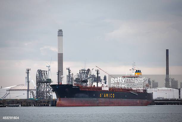 High Seas a chemical and oil tanker ship operated by d'Amico Tankers Ltd sits docked at the BP Plc petroleum harbour in the Port of Rotterdam in...