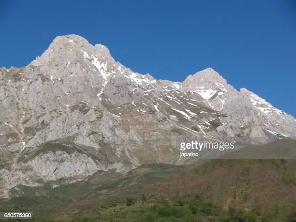 High snowy mountains in the Picos de Europa