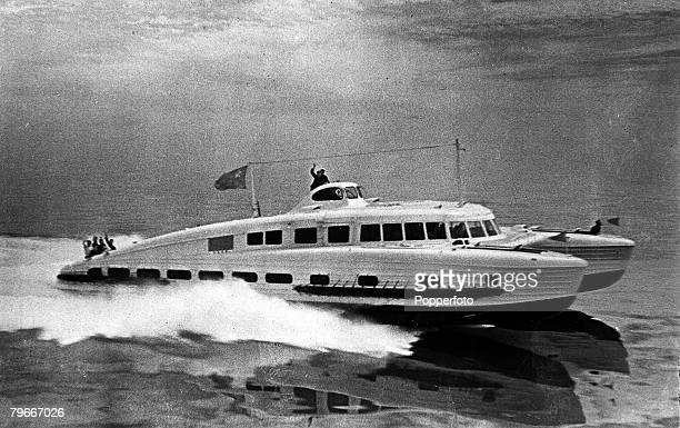 A high speed hydroplane run by the Russians providing luxurious accomadation on the route between Sachi and Sukhumi on the Black Sea 11th June 1940