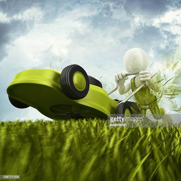 high speed mowing lawn