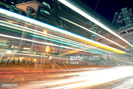 High speed traffic and blurred light trails