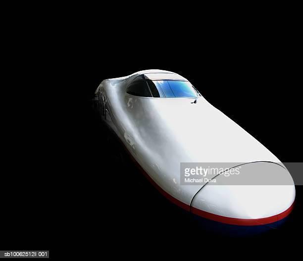 High speed train against black background
