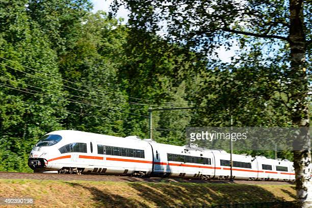 ICE High Speed Train driving in nature