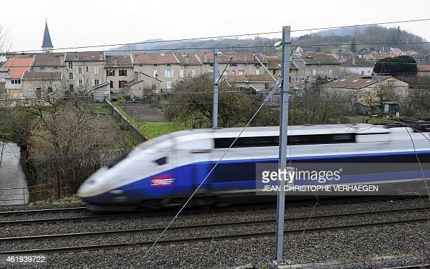 A TGV high speed train passes through Vandieres northeastern France on January 22 2015 Inhabitants of Lorraine will be consulted on the creation of...
