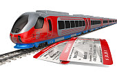 High speed train with tickets. Travel concept, 3D rendering isolated on white background