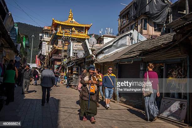 High street in McLeod Ganj Dharamshala Himachal Pradesh India