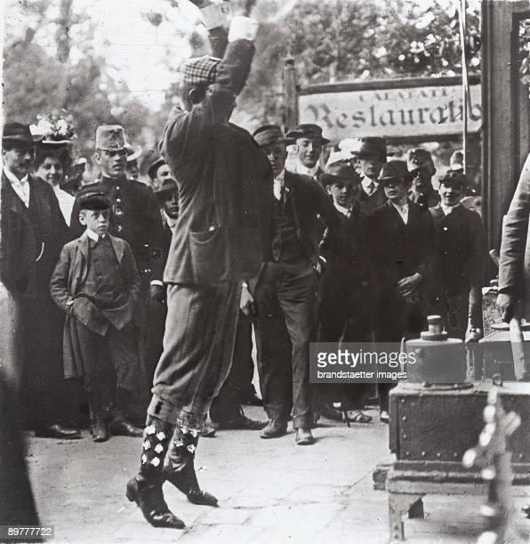 A high striker or socalled Hau den Lukas or Watschenmann at the Green Prater Vienna second district Photograph Lantern slide Around 19051910