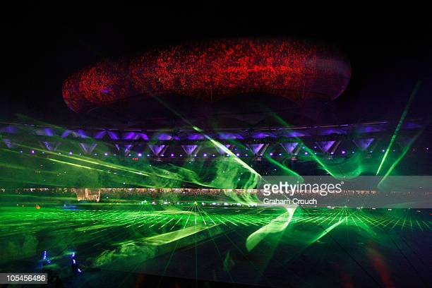 A high tech laser light show on display at the Closing Ceremony for the Delhi 2010 Commonwealth Games at Jawaharlal Nehru Stadium on October 14 2010...