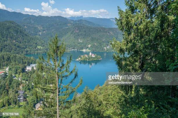 High up view of Lake Bled, Slovenia