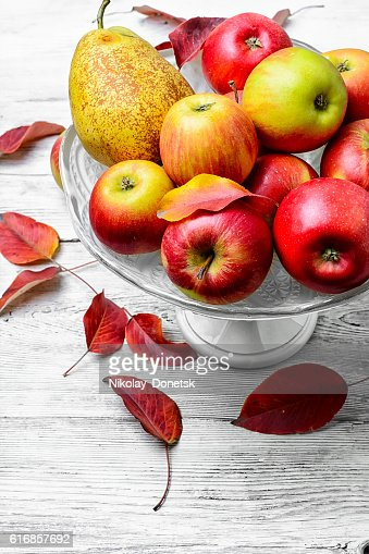 High vase with apples : Stock Photo