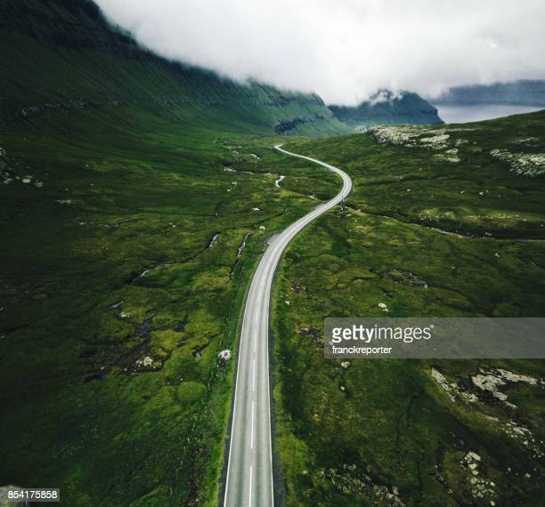 high view of faroese roads