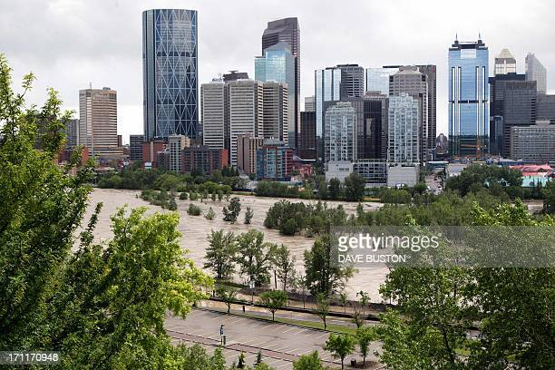 A high view shows the flooding at Bow River where water covered an island next to the downtown core in Calgary Alberta Canada June 22 2013 Water...