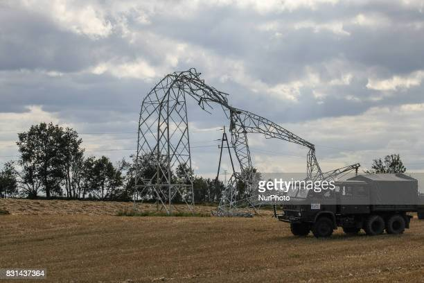 High voltage energy pole twisted by the wind is seen near the Sylczno village northern Poland on 14 August 2017 Storms which on Friday 11th August...