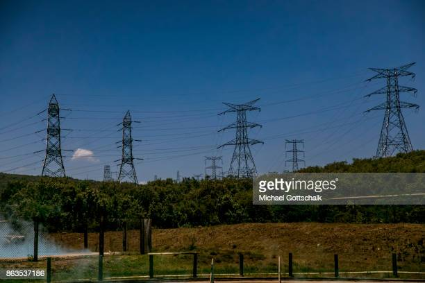 A High voltage power line in the KenGen or Kenya General Energy Olkaria geothermal power station area in Hells´s Gate National Park on October 08...