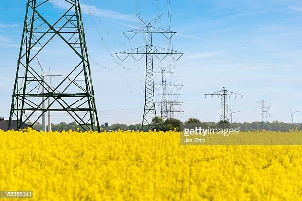 High voltage power lines und windenergy
