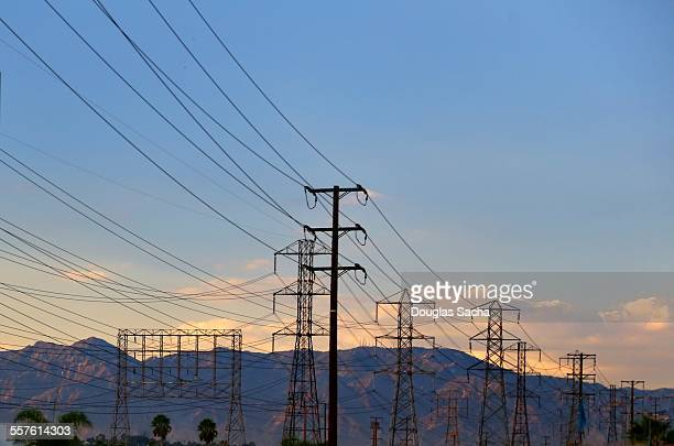 High voltage power lines in the sky
