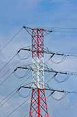High voltage pylon / transmission tower / electricity pylon in red and white